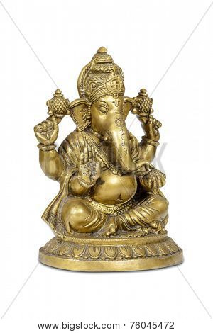 Figurine of Hindu god of wisdom, knowledge and new beginnings Ganesha isolated with clipping path.