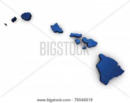 Map Of Hawaii 3D Shape