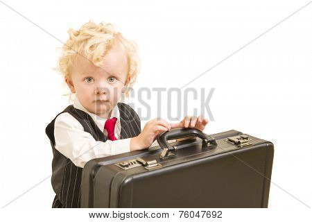 Cute Boy in Vest Suit and Tie with Briefcase On White