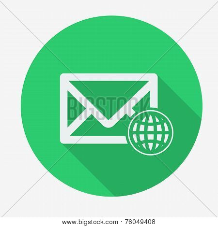 Single flat icon with long shadow for web applications, email icons design. Envelope with globe.  Ve