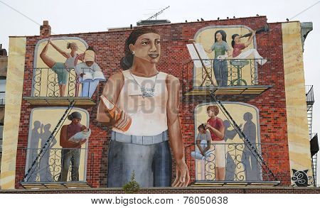 Mural art in Park Slope section of Brooklyn