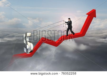 Businessman Pulling 3D Dollar Sign Upward On Red Trend Line