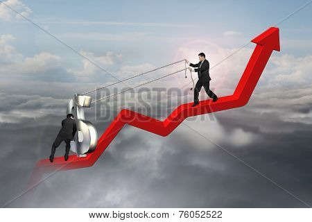 Two Businessmen Moving Dollar Sign Upward On Red Trend Line