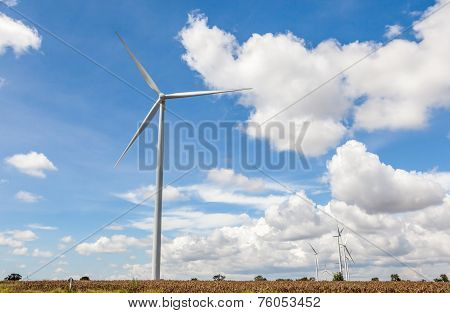 The Group Of Wind Turbines (windmills) For Renewable Electric Energy Production In Thailand.