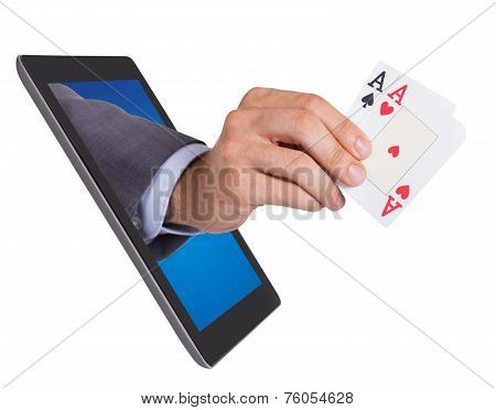 Hand Holding Ace Cards Coming From Tablet