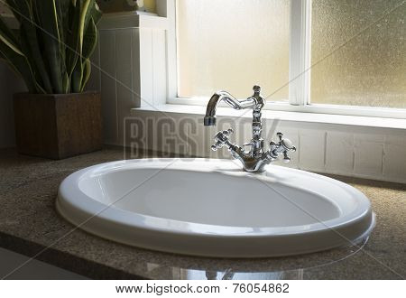 Old Retro Water Tap Basin In Modern Bathroom