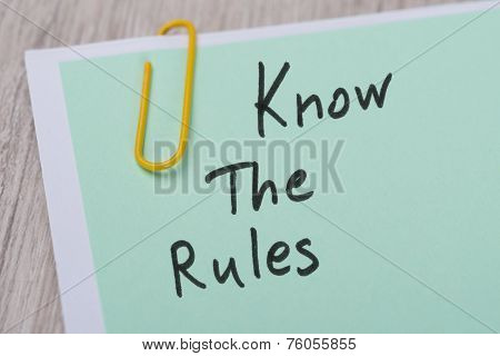 Know The Rules ! Written On Green Note