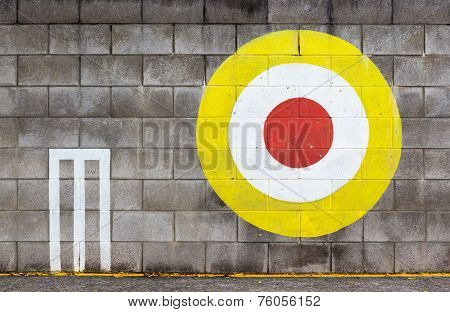 The Archery Target On Concrete Wall