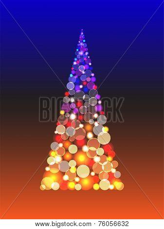 Christmas tree with shiny blur boke lights
