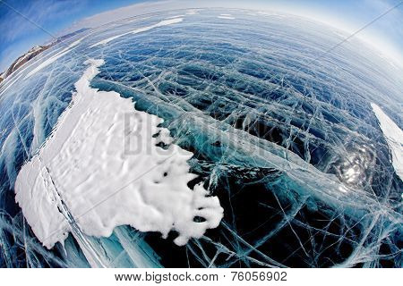 Ice surface on winter baikal. Wide-angle shot