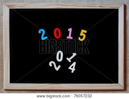 New Year 2015 Replaces 2014 Concept On Blackboard
