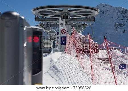 ski lift chairs in the mountains, ski resort