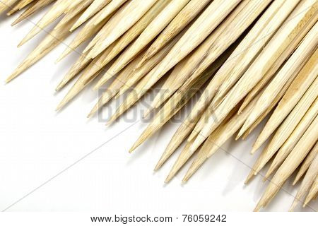 Pointed Ends Of Wooden Sticks Used As Skewers