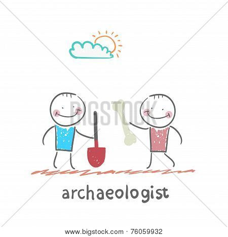 archaeologist holding a shovel and another archaeologist has bone