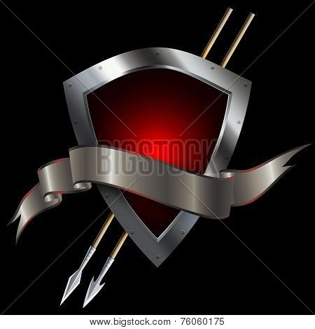 Red Silver Shield With Spears And Ribbon.