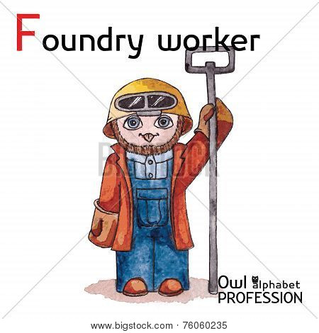 Alphabet professions Owl Letter F - Foundry worker Vector Watercolor.
