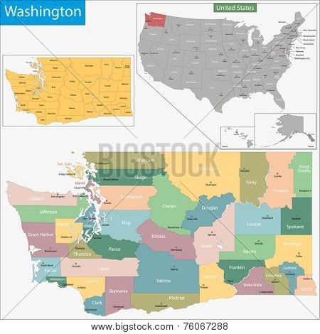 Map of Washington state designed in illustration with the counties and the county seats