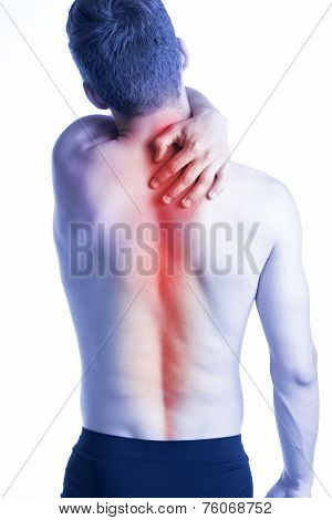 Man With Spine Pain On Back