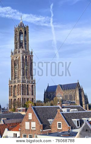 Dom Tower Of St Martin's Cathedral In Utrecht, Netherlands