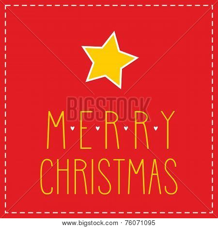 Holidays vector card with star and hand drawn Merry Christmas wishes
