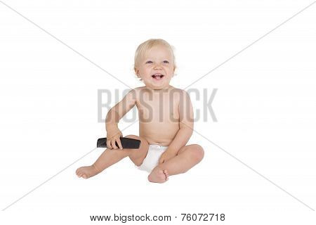 Young boy with black comb