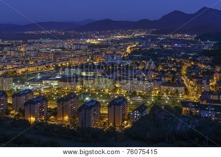 Aerial Night Cityscape Of Brasov City