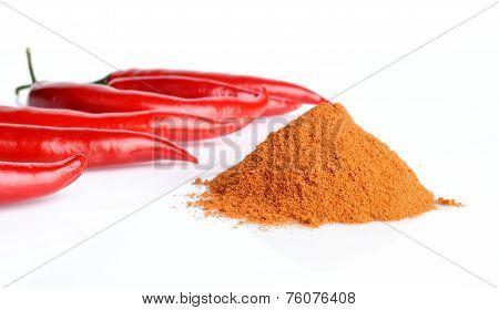 Studio Shot Chilli Pepper, Cayenne Pepper Isolated On White