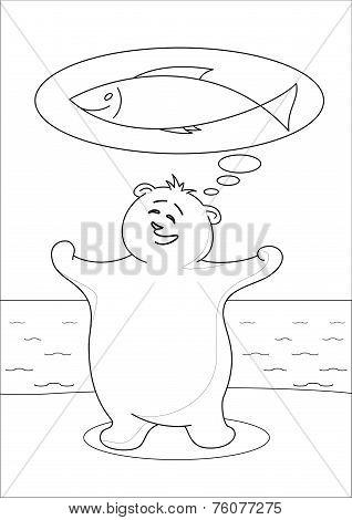 Teddy bear fisherman, contours