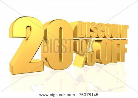 Discount 20 Percent Off. 3D Illustration.