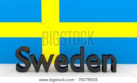 Writing Sweden In Front Of A Swedish Flag
