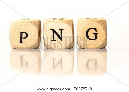 Png Spelled Word, Dice Letters With Reflection