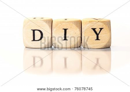 Diy Spelled Word, Dice Letters With Reflection