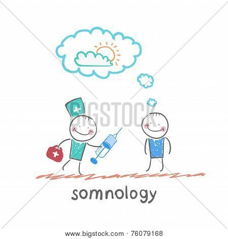somnology stands next to a syringe with a patient who has fallen asleep
