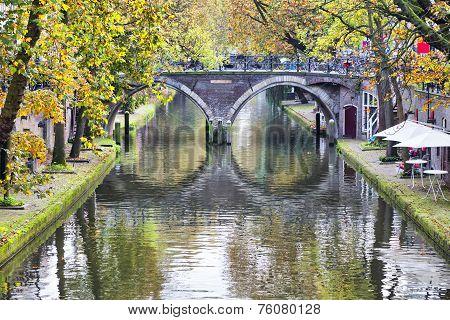 Double Arc Bridge In The Historical Center Of Utrecht