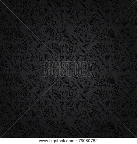 Black Background Or Gray Background. Black Seamless Floral Patte