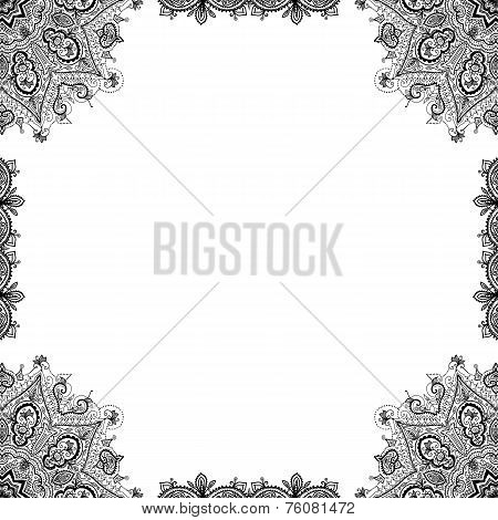 Vector Hand Drawn Black Ornamental Decorative Frame. Isolated On