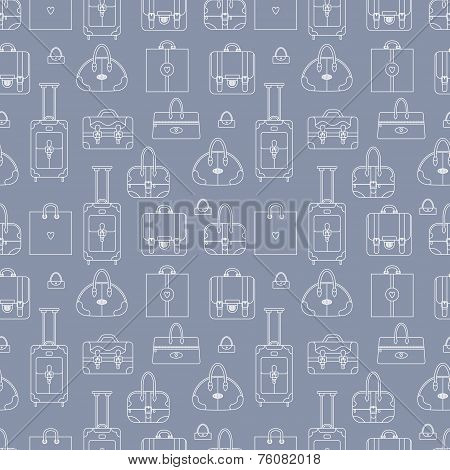 Black and white seamless vector background with shopping bags, h