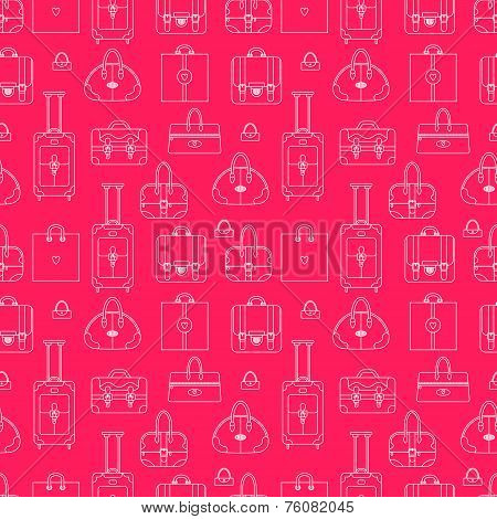 Girly seamless vector background with shopping bags, handbags, p