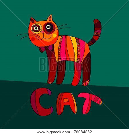 Vector Illustration Of Cute Cat. Vector Cartoon Cat On Green Bac