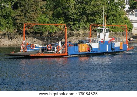 Bodinnick To Fowey Car Ferry Crossing The River Fowey.  This C