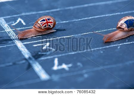 Snails Race Metaphor About England Against Europe