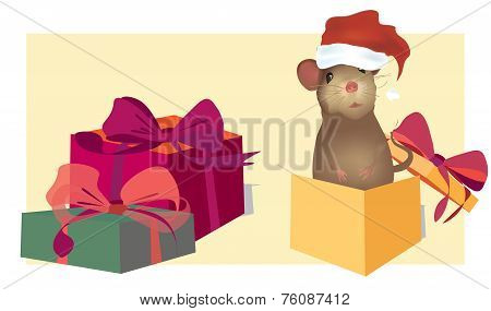 Christmas Card with cute mouse