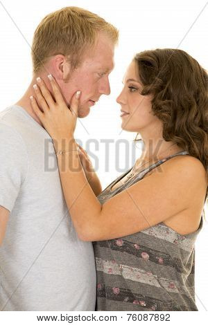 Man And Woman Close Her Hands On His Nek Look At Each Other