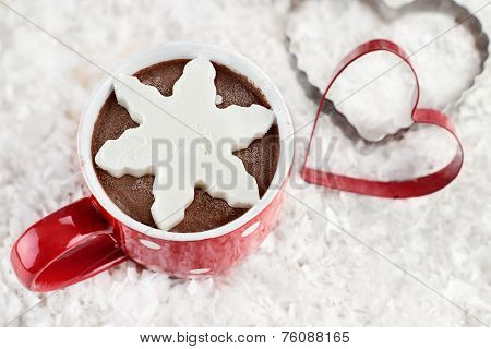 Hot Cocoa With Snowflake Shaped Whip Cream