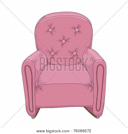Pink armchair. Hand Drawn Sketch Illustration Isolated On White Background