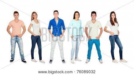 Casual and young people isolated on a white background