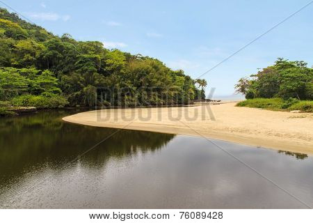Sahy river view meeting the ocean at Barra do Sahy beach - Sao Sebastiao - Sao Paulo - Brazil