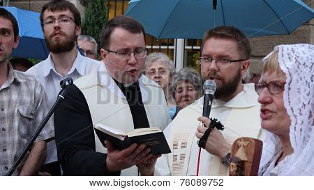 WROCLAW, POLAND - JUNE 27, 2014:  Legal religious manifestation organized by The Church on street , 27 June