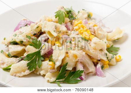 Tuna salad with pasta, onion, sweetcorn, parsley and mayonnaise on a plate