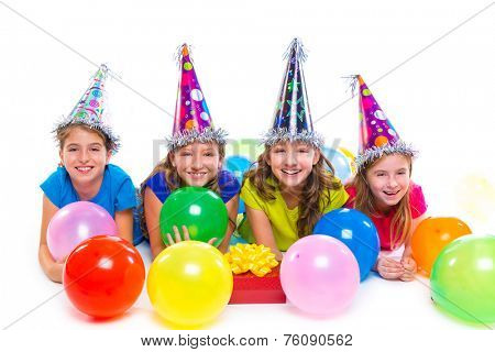 Happy kid girls birthday party balloons and gift box on white background